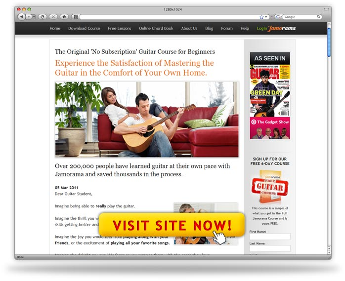 jamorama learn guitar screenshot Jamorama Learn To Play Guitar Program